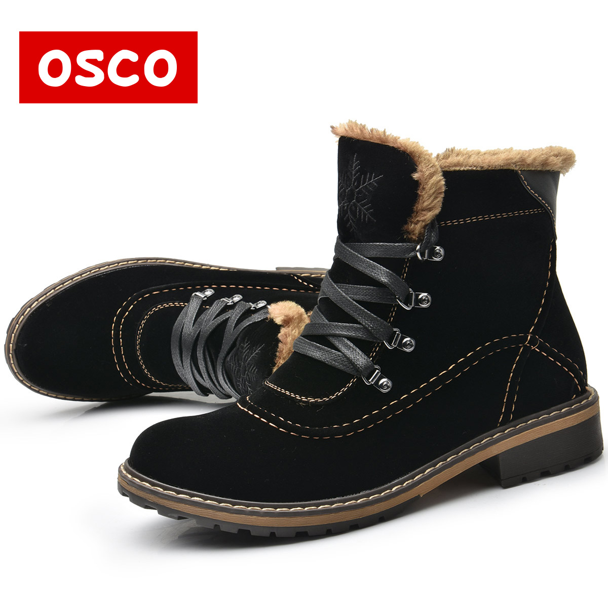 OSCO Brand Women Boots Female Winter Shoes Woman Warm Snow Boots Fashion Suede Fur Ankle Boots Black Brown Size 35-40(China (Mainland))