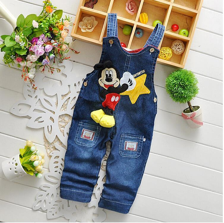 2015 NEW Newborn Baby Girls Boys Kids Denim Jeans One-pieces Cartoon Mickey Rompers Playsuits Clothes for Children(China (Mainland))