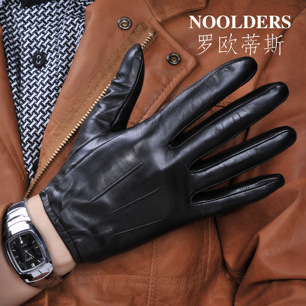 Mens leather gloves thin - Leather Gloves Male Thin Short Design Winter Male Genuine Leather Gloves Thermal Touch Screen Leather Gloves