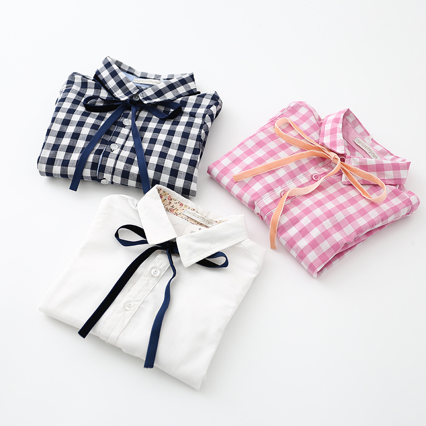 2016 Spring Kids girls Cotton Shirts Baby girl long sleeve plaid Bow Blouse children's clothes  babies clothing