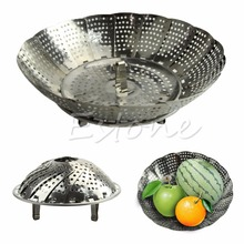 Stainless Steel Folding Steamer Steam Vegetable Basket Mesh Cooker Expandable SIZE S(China (Mainland))