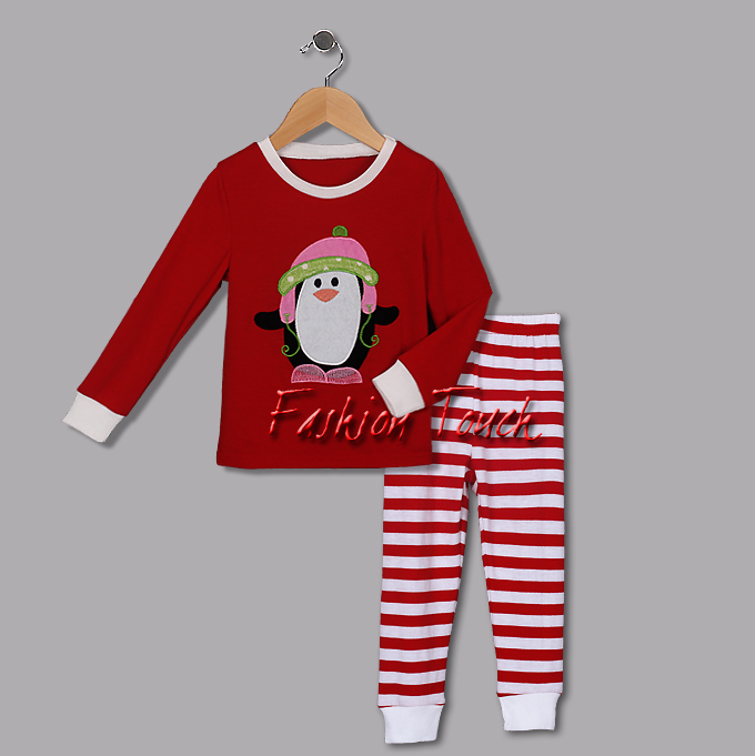 2015 Cotton Christmas Clothing Set For Kids Penguin lovely Cartoon Boys And Girl Suits Kids Wear Free Shipping CS41111-03^^FT(China (Mainland))