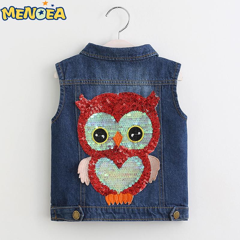 Menoea 2017 Autumn Lovely Girls Outerwear Cowboy Coats Length Jacket Cartoon Owl Appliques Coat for Kids Sleeveless Vests