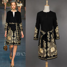 European style 2015 Autumn Winter new Women catwalk dress embroidered with retro fashion women embroidered A-Line Casual dress
