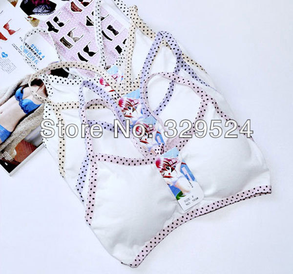 White Color Full Cup Padded Lady's Bras Non-Convertible Straps Active Bow Type Students & Young Girl