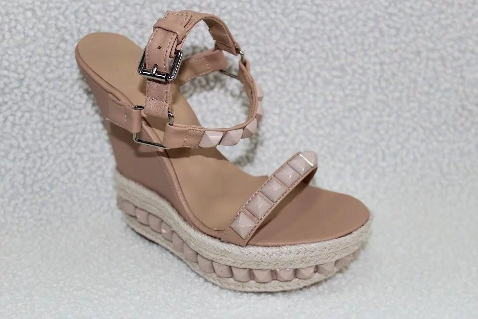 Summer 2016 New Brand Fashion Women Embellished Cork Tribuli Studded Ankle Strap Leather Wedge Sandals Shoes(China (Mainland))