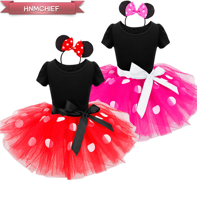Girl Summer Dresses 2017 New Fashion Dots Minnie Mouse Dress Girls Cartoon Mouse Cotton Kids Dresses Christmas New Year Clothes(China (Mainland))
