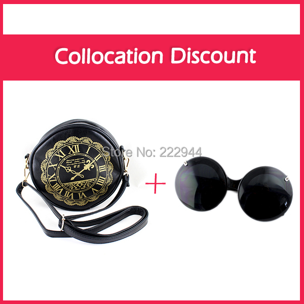 Buy One Get One Free Black Color Round Design Vintage Style Colock Printed PU Leather Purses Shoulder Handbags For Women(China (Mainland))