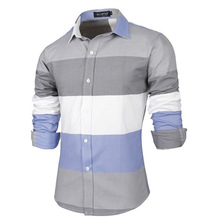 2015 New Fashion Brand Great Stripe Men Shirts Long Sleeve Cotton Slim Fit French Cuff  Casual Male Social Dress Shirt Clothes