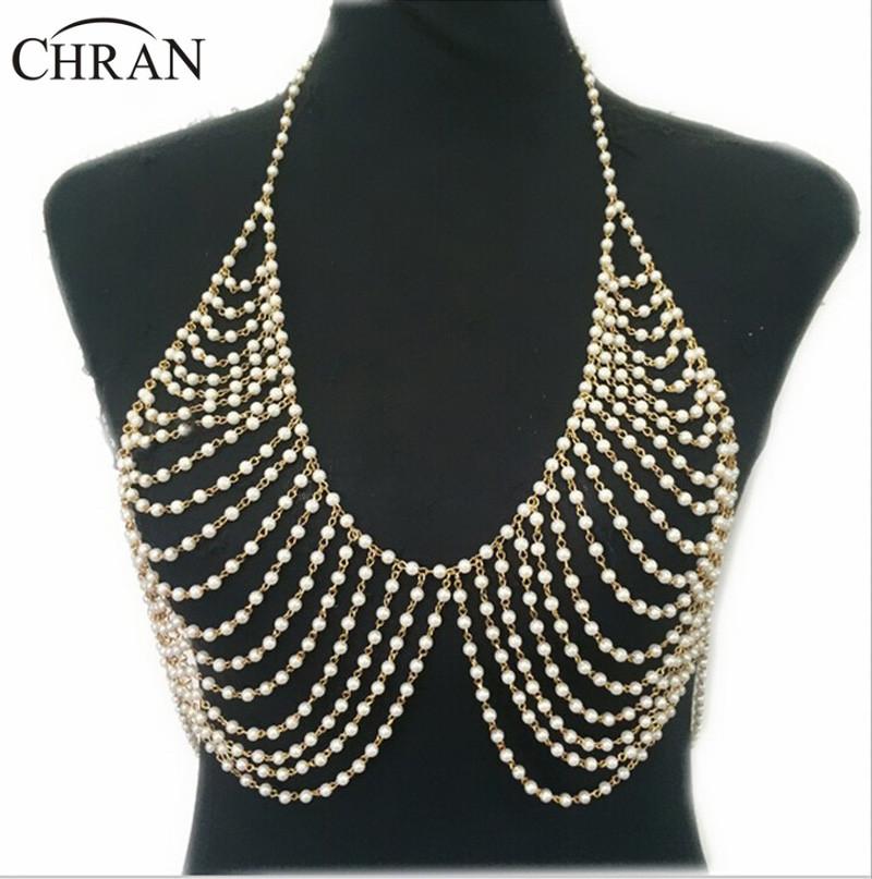 buy new fashion luxury pearl body chain