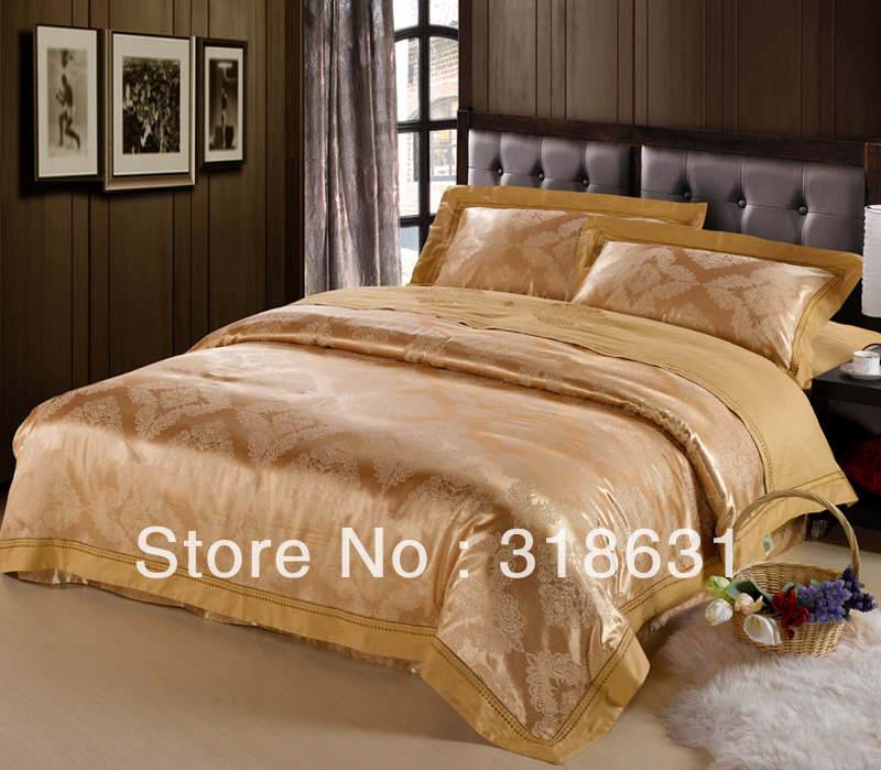 Classical European Royal Style Bedding Set Luxury Imitated Silk Duvet Cover Set Queen/King, Gold Yellow, Cotton Jacquard Fabric(China (Mainland))