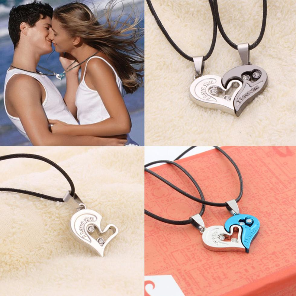 Men Women Lover Couple Necklace I Love You Heart Shape Pendant Necklaces Fashion Jewelry(China (Mainland))