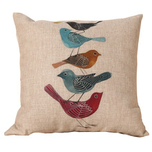 Five Lovely Birds Linen Cotton Cushion Covers