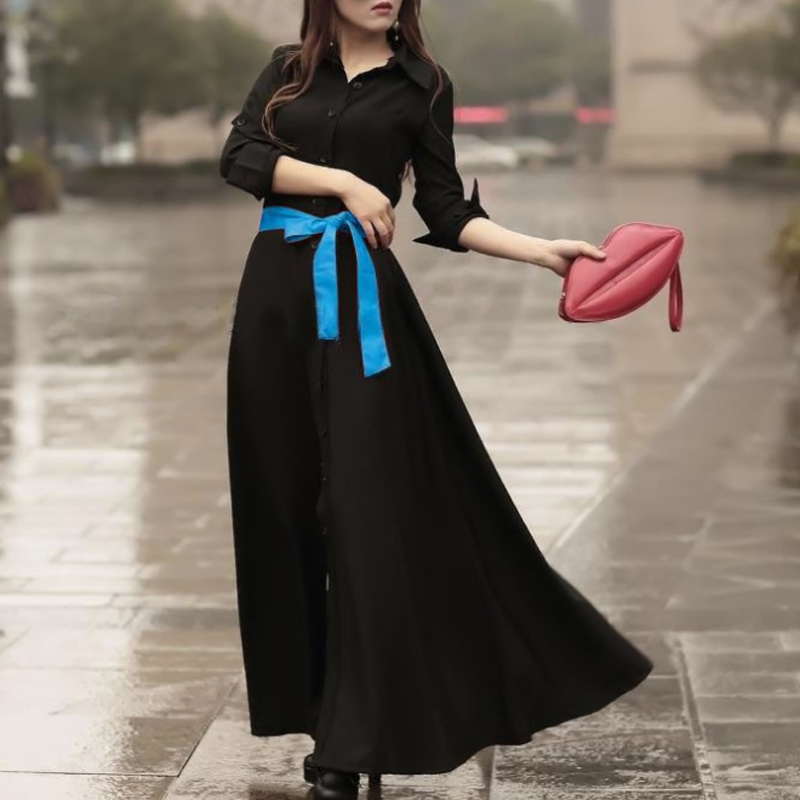 Summer Dress  Women Long Plus Size Sashes Beach Bohemian Slim Maxi Dresses Longo Roupas Femininas Free Shipping WQL1476