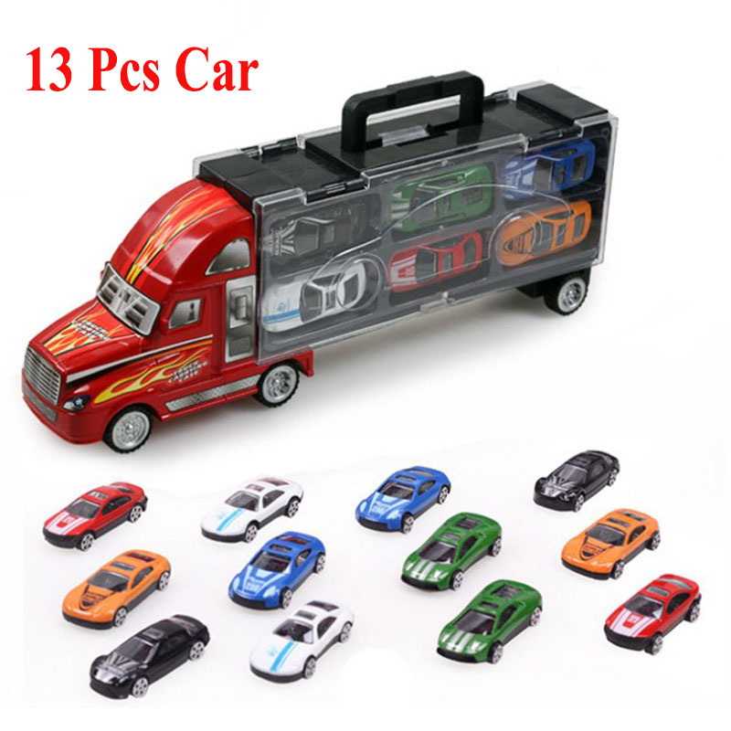 1pcs Truck Car + 12pcs Sedan Car Alloy Car Model Big Mac Cargo Truck Children's Toys Best Gift(China (Mainland))