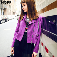 Womens Faux Suede Jacket Feminino New 2015 Women's Autumn Short Purple Motorcycle Biker Jacket Coat Chaquetas Mujer(China (Mainland))