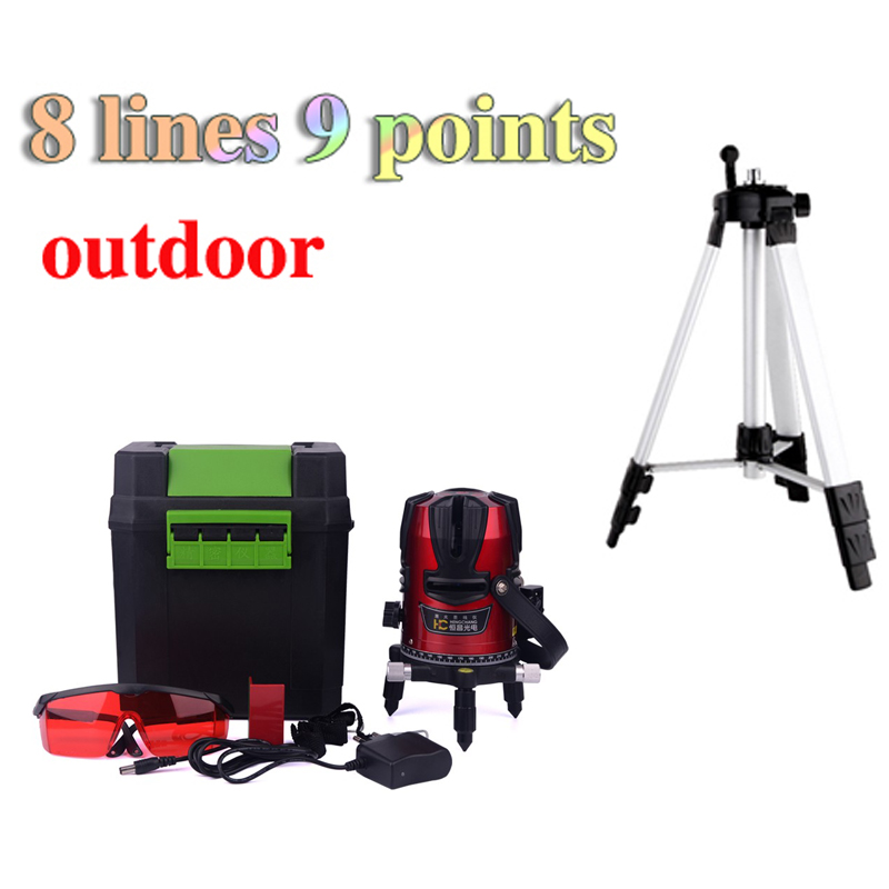 8 lines 3 point laser level outdoor cross laser leveling 360 rotary and lazer levers without 4* AA battery + 1.5m tripod LL15<br><br>Aliexpress