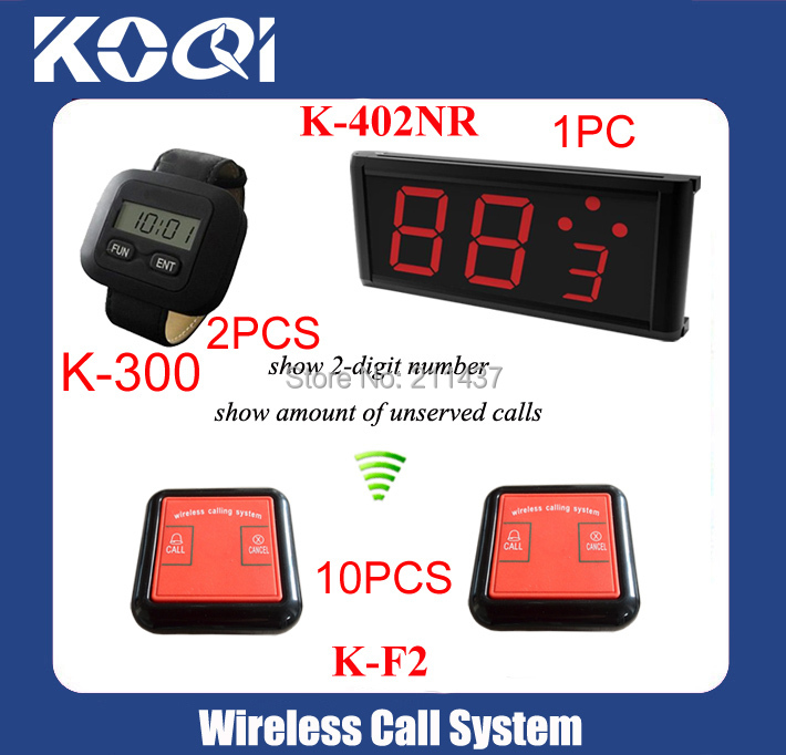433.92MHZ restaurant pager system K-402NR display+ 2pcs K-300 watch + 10pcs K-F2 bells DHL free shipping(China (Mainland))