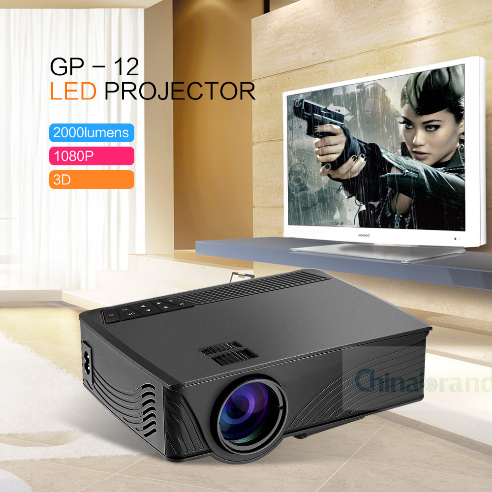 GP - 12 LED Projector 2000LM Beamer 1080P Full HD Home Cinema Media Player Built-in Speaker Support 3.5mm Audio HDMI SD Card USB(China (Mainland))