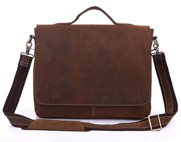 Vintage 100% Crazy Horse Genuine Leather Men Messenger Bags Cowhide Leather Men Briefcase Shoulder Bags 14