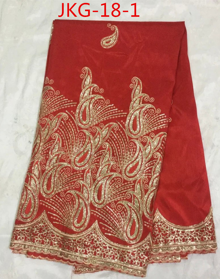 Rose red embroidery technic Geroge lace fabric making for dress JKG-18(China (Mainland))