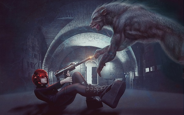 girl gun wolf werewolf battle sci fi <font><b>gothic</b></font> warrior 4 Sizes <font><b>Home</b></font> <font><b>Decoration</b></font> Canvas Poster Print