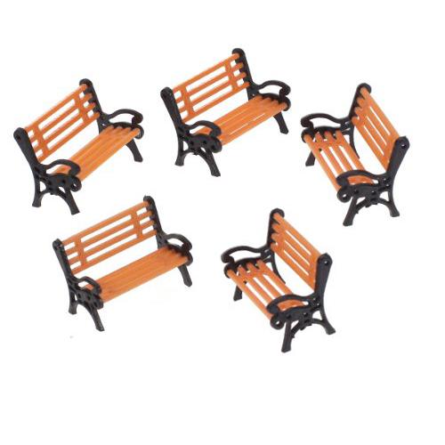 EWS Wholesale 5pcs Plastic Model Park Bench Model Landscape 1:50 w/ Black Arm<br><br>Aliexpress