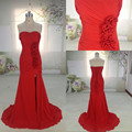 MENGZHIYUAN MZY002 Sweetheart Ruched Pleated Red Long Strapless Front Split Trumpet Mermaid Evening Dress 2015 with