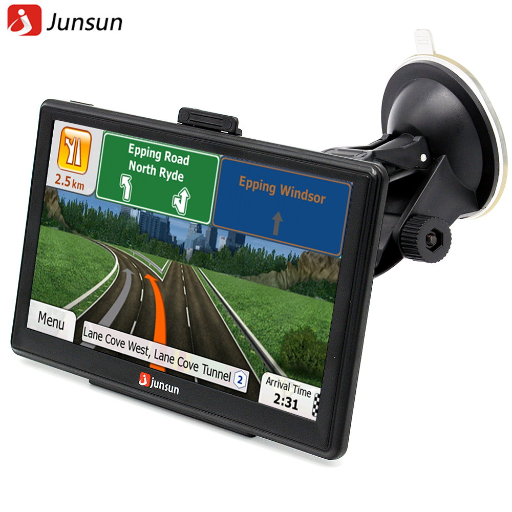 Junsun 7 inch HD Car GPS Navigation FM 8GB/256M DDR/800MHZ Map Free Upgrade Spain/ Europe/USA+Canada/Israel Truck gps Sat nav(China (Mainland))
