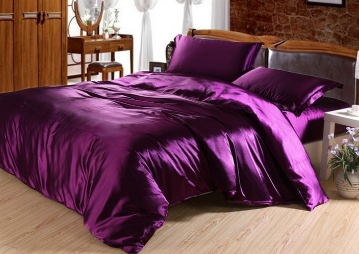 7pcs dark purple satin silk bedding set california king quilt duvet