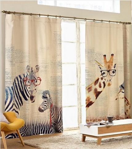 rideaux modernes de style d 39 t z bre girafe enfants linge rideaux pour chambre rideaux enfants. Black Bedroom Furniture Sets. Home Design Ideas