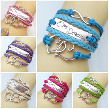 NEW Fashion Infinity LOVE One Direction Heart Leather Cute Charm Bracelet(China (Mainland))