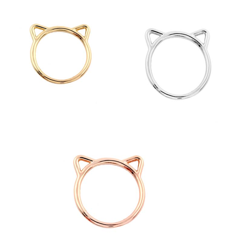 2016 New Fashion Ring Cute Small Animal Cute Hammered Kitty Cat Rings for Women Gift R090(China (Mainland))