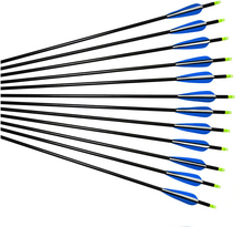 20pcs pack 8 7 mm diameter is 80 cm longSteel Point Fiberglass Hunting Arrows for Compound