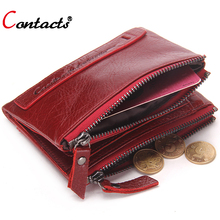 Buy CONTACT'S Genuine Leather Men Wallet Women Luxury Brand Purse Female Card Holder Small Clutch bags coin Purse Money Bag Red for $12.45 in AliExpress store