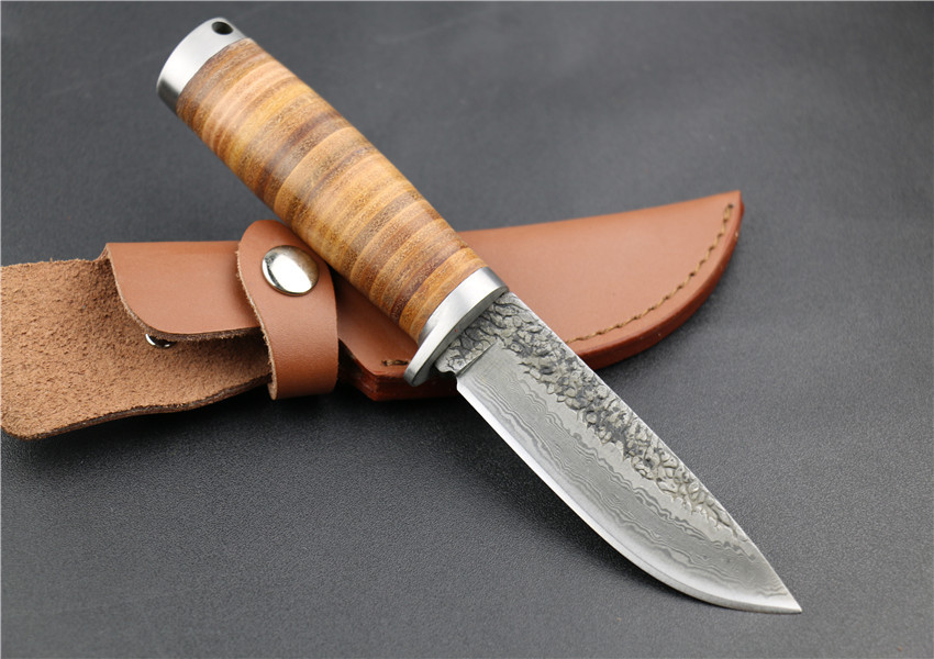 Buy Fixed Handmade Knife Forged Damascus Pattern Steel Blade Straight Outdoor Hunting Knife with Leather Handle & Sheath Wi cheap