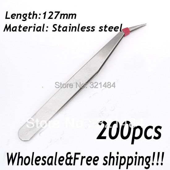 Free shipping!!! 200piece 127mm Stainless steel Garment Sewing Nail Jewelry Tools DIY Pliers Tweezers bend head(China (Mainland))