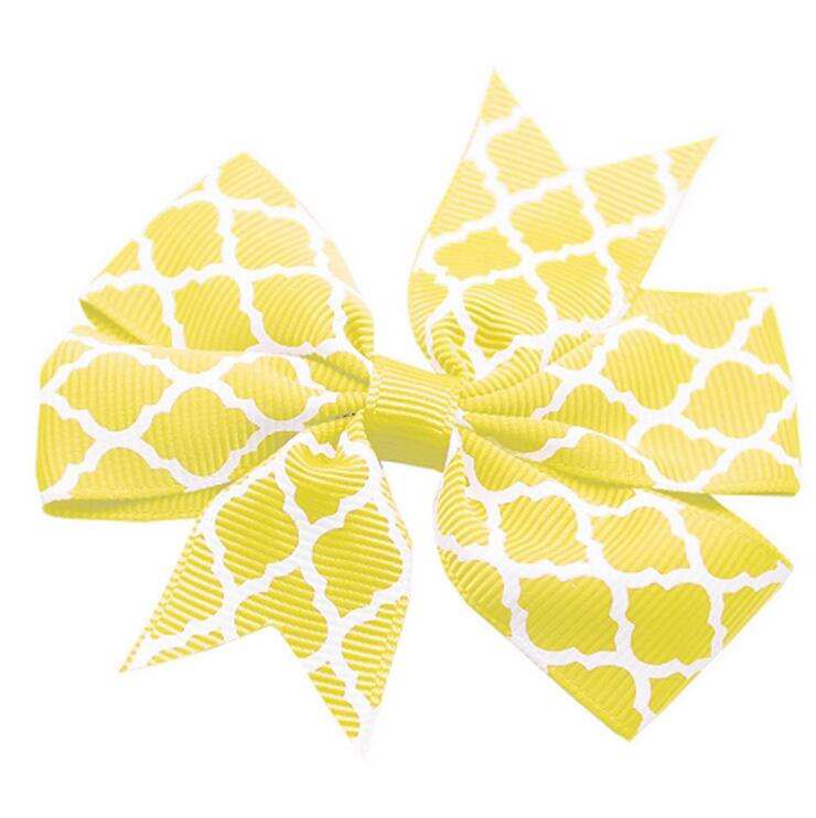140pcs Yellow hair bow, quatrefoil, boutique hair bow, girls large hair bow Free Shipping(China (Mainland))