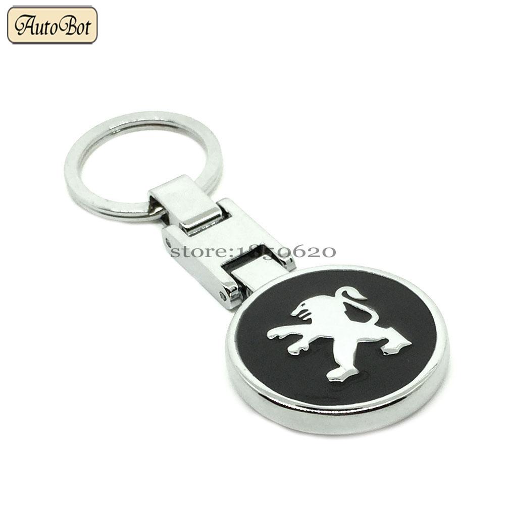 New Car Styling Alloy KeyChain Key Chain Ring Badge Emblem Mark Metal KeyRing For Peugeot Logo 307 308 407 408 508 3008 4008 RCZ(China (Mainland))