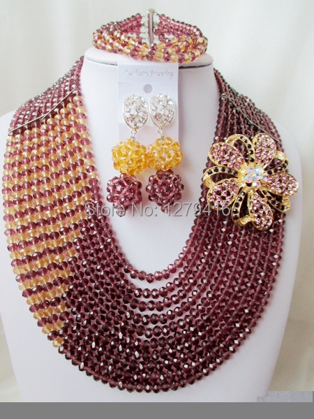 Fashion jewelry, Nigeria bead bead bride wedding jewelry set crystal necklace A564<br><br>Aliexpress