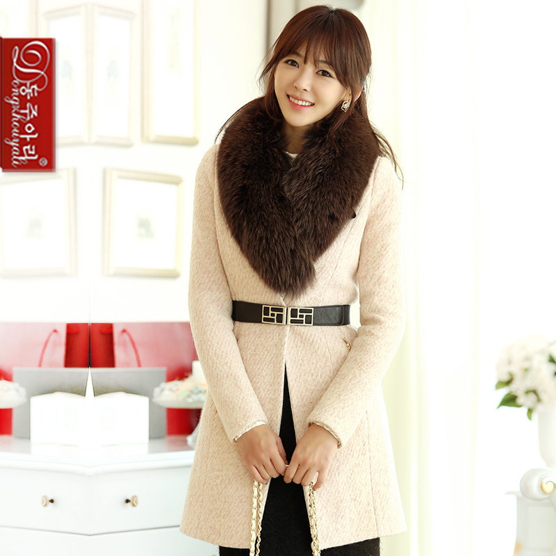 winter elegant lady woolen coat plus size fashion outerwear female long overcoat fur collar waistband - Fashion and Romantic Store store
