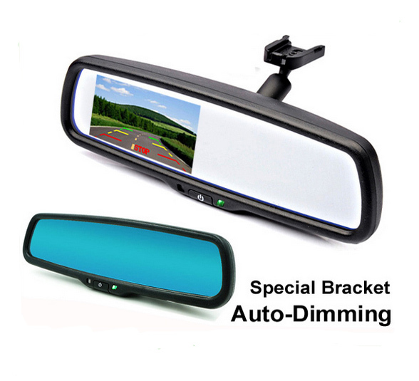 4.3 Inch Car Interior Rearview Auto Dimming Mirror monitor with Special Bracket And Car Parking Assistance System(China (Mainland))