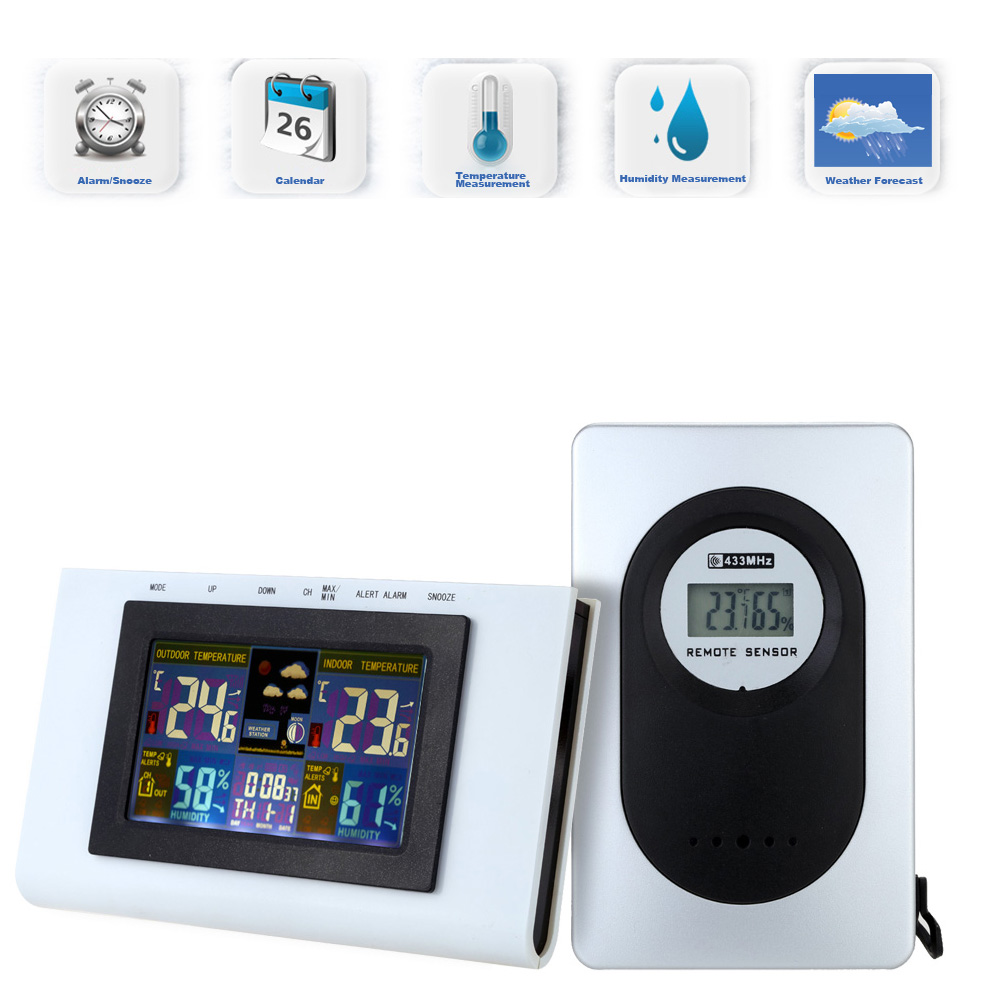 Function Wireless Weather Station Clock 433MHz Color Display Digital Thermometer Hygrometer Temperature Humidity Alert Calendar(China (Mainland))