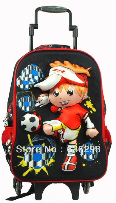 3d pattern child football trolley bag primary school student eva travel