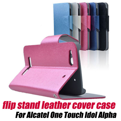 10pcs/lot.SILK Flip Leather Case Card Holder Cover wallet for Alcatel One Touch Idol Alpha OT 6032A 6032X free shipping