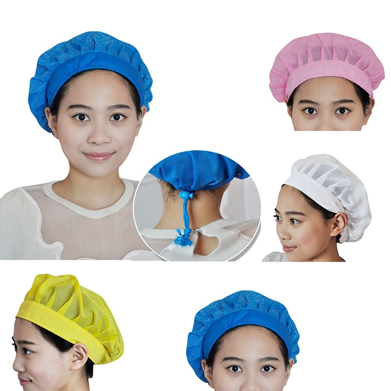 Mesh Chef Hat Baker Cook Cap Breathable Adjustable Dust Cap Catering Cap Kitchen Restaurant Work Wear Chef Uniform Food Service