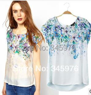 2015 Brand design ladies retro floral print blouse shirt elegant women silk patchwork blouse fashion women short sleeve blusas(China (Mainland))