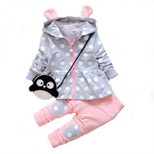 Kids Baby Girl Clothes Sets Fashion High Qulity Dot Print Hooded Set For Girl Outfit Toddler Infant Children Suit 0 2 3 4 Years(China (Mainland))