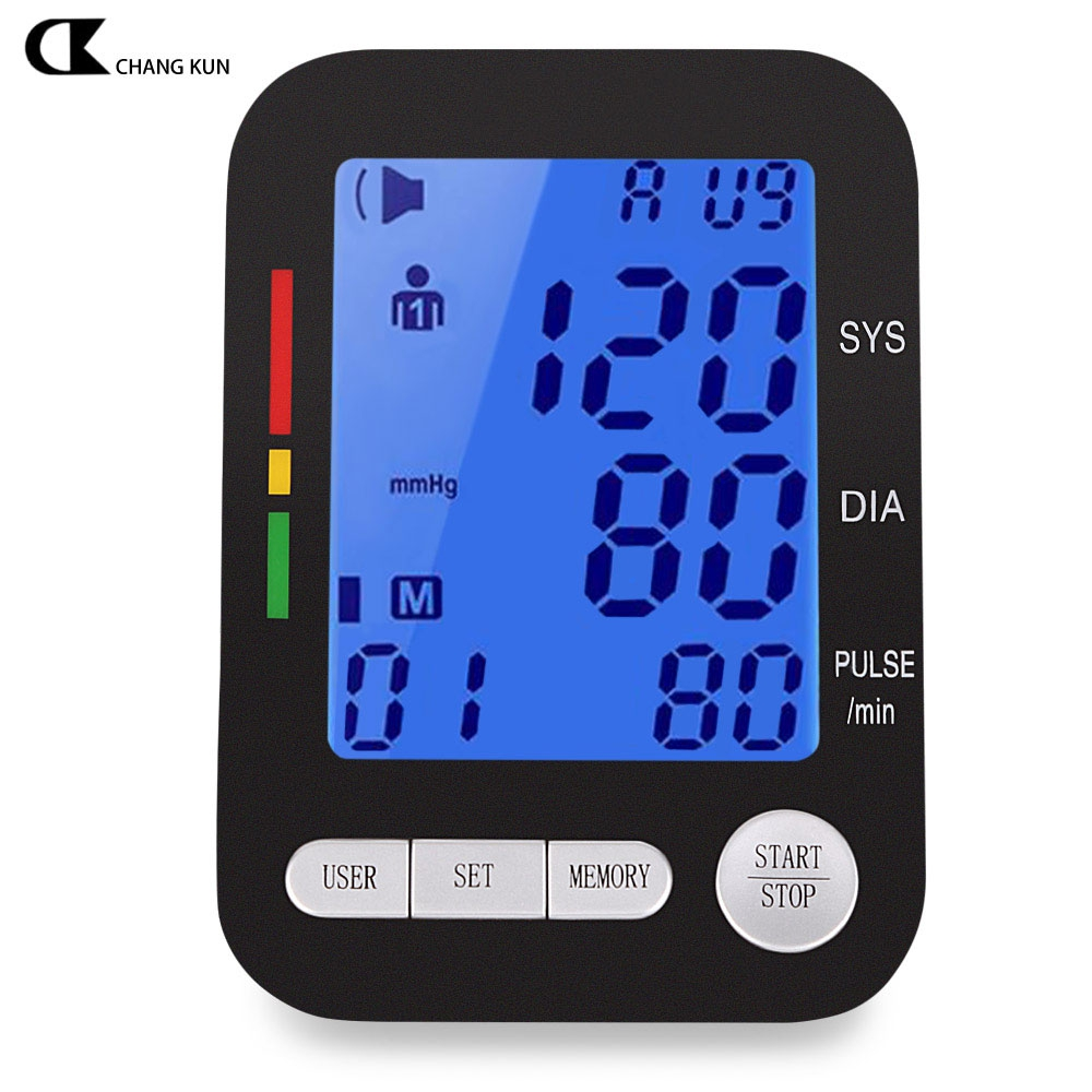 CHANGKUN Health Care Blood Pressure Monitor Automatic Digital LCD Upper Arm Blood Pressure Monitor Heart Beat Meter Machine(China (Mainland))