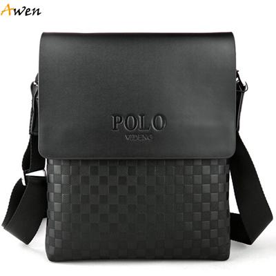 AWEN-free shipping luxury high quality PU leather messenger bag for men,classic plaid leisure business men bag,mens shoulder bag(China (Mainland))